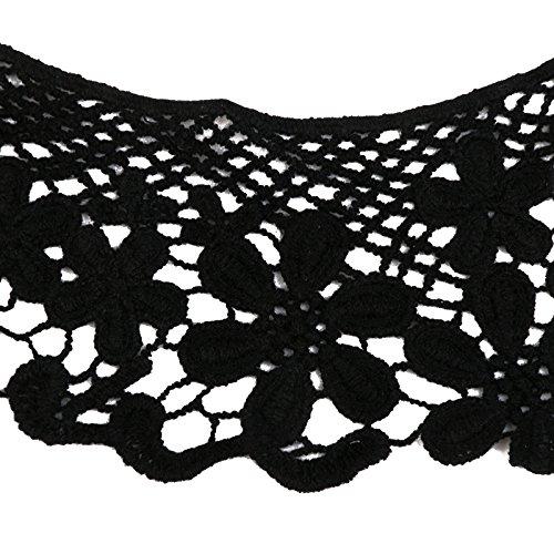 Phenovo Vintage Baumwolle Gehäkelten Hohle Blumenhalsausschnitt Nähen Schwarz - 3