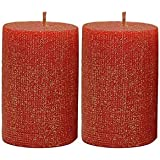 [Sponsored]Maxime Candles Decorative Red And Gold Candles Set Of 2 | Candles For Decoration | Candles For Home Décor | Centerpieces For Dining Room | Candles For Gifting