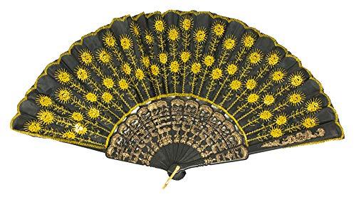 Das Kostümland Barock Fächer mit Glitzer Pailletten - Schwarz Gold - Tolles Accessoire zu Karneval, Mottoparty oder heiße Sommerzeit