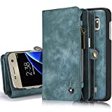 iPhone/Samsung Leder Handytasche Case Hülle Geldbörse mit Kartenfach abnehmbar Magnet Handy Schutzhülle für Samsung Galaxy S7 Edge in Blau
