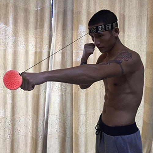 Xshuai 100 cm Einstellbar Kampfkugel Mit Kopfband Für Reflex Speed Training Boxing Boxer Übung Für Kickboxen, Muay Thai, Taekwondo (Rot) - 4