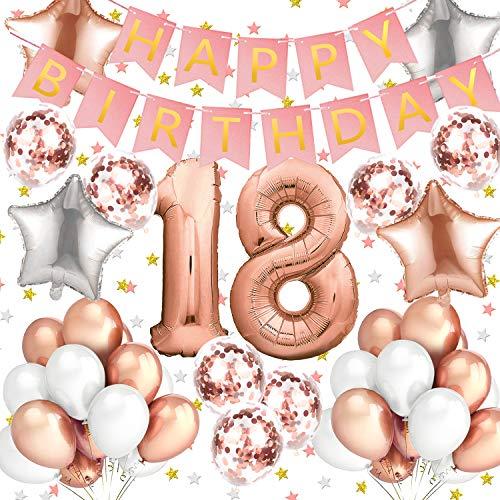 Sundell 41 Stück Geburtstag Dekoration - Riesen Zahl 18 Folienballons Rosegold Happy Birthday Ballons Banner, Konfetti Luftballons Geburtstagsdeko für Geburtstag Party Frauen Kinder Mädchen Party Deko