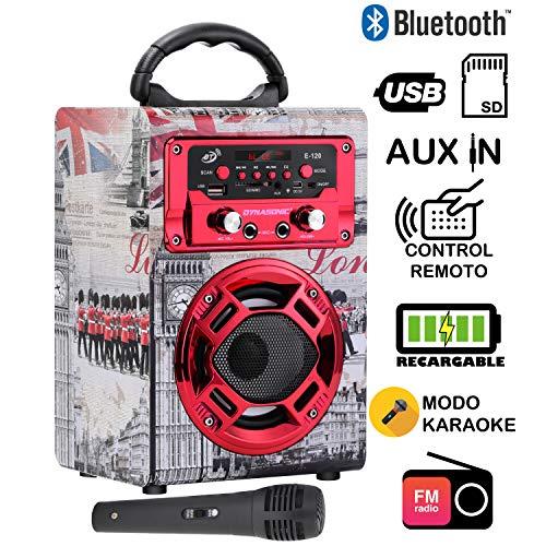 DYNASONIC - Mini Altavoz Bluetooth Portátil, Diseño Londres 120-1, Color Rojo |...