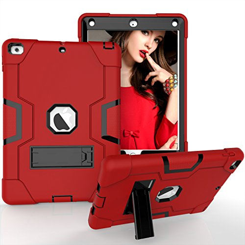 iPad Air Fall, iPad 5 Case, beimu 3 in1 Combo Hybrid Heavy Duty Armor Fullbody Holster Rugged Defender Schutzhülle mit Integriertem Ständer für Apple iPad 5/iPad Air, Rot/Schwarz (Ipad 1 Fällen Otter Box)