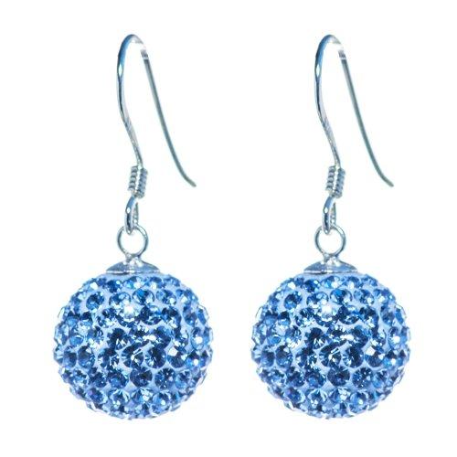 Bella Carina Damen Ohrringe mit Kristall Elements, 12 mm himmel blau, Glitzer Kugel Schmuck von Bella (Disco Ball Ohrringe)