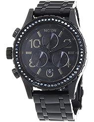 Nixon Damen-Armbanduhr 38-20 Chrono All Black Crystal Chronograph Quarz Edelstahl A4041879-00