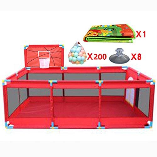 Große Indoor Outdoor Baby Laufstall 10 Panel mit Basketballkorb und Bälle Matte Sicherheit Jungen Mädchen Play Center Yard Tragbare Gefaltete Kleinkinder Home Activity Area Zaun, rot -