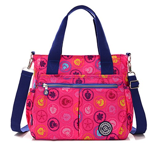 Tiny Chou wasserabweisend Nylon Handtasche Crossbody Messenger Bag mit abnehmbarer Schultergurt Hot Pink Plants