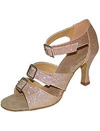 T.T-Q Zapatillas de Baile para Mujer Flocado Brillo Brillante Tacones Camello Sandalias Latinas Salsa Jazz Tango...