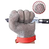 ThreeH Gants résistants aux coupures de maille d'acier inoxydable de gants pour des bouchers,Travaux de restaurant,Traitement de la viande,Tranchage,Hacher GL08 XL(1 pièce)