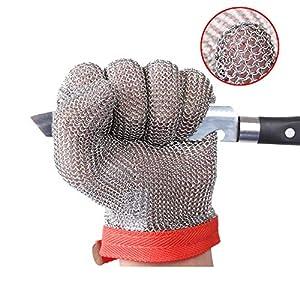 ThreeH Guantes resistentes al corte 304L Malla de acero inoxidable Carnicero Cocina Guantes de seguridad de corte de trabajo GL08 XS(1 pieza)