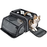 Fypo Cat Carrier, Airline Approved Pet Travel Bag with Soft-Side Fabric, Expandable Foldable Puppy Rabbit Small Animal Handbag Crate, 40 * 23 * 23 cm