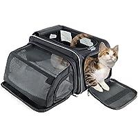 Fypo Transportín Plegable para Gato Perrito 40 * 23 * 23cm para Plano y Tren Bolsa de Transporte para Mascotas con Espacio Extensible de 30 * 20 * 20cm Diseño Robusto para Gatos Menos de 6kg Negro