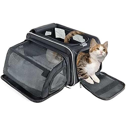 regalos kawaii gato Fypo Transportín Plegable para Gato Perrito 40*29*23cm para Plano y Tren Bolsa de Transporte para Mascotas con Espacio Extensible de 30*20*20cm Diseño Robusto para Gatos menos de 6kg Negro