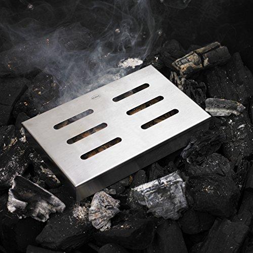 51suh93iyIL - RÖSLE Räucherbox, Edelstahl 18/10, für Smoker, Holzkohle- und Gasgrills