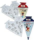 2 tlg. Set: Pirat Käpt´n Sharky - Malbücher als Schultüte - incl. Name - zum Buchstaben UND Zahlen lernen für 4 - 8 Jahre - ABC - für Schulanfang und Vorschule - Malvorlagen zum Ausmalen Schultüten