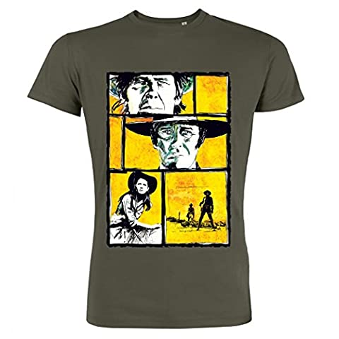 Pushertees - T-shirt homme Khaki Western film classique 60s lion morricone eastwood chefs-d
