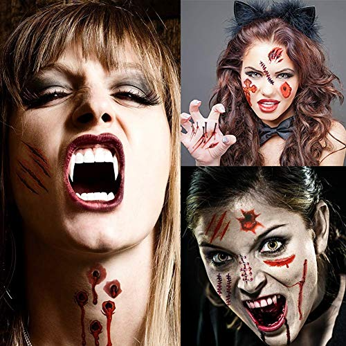 Delaman Zombie Tattoo Halloween Make-up Tattoos Set, Schreckliches Make-up, Vampire Biss Tattoo, Gefälschte Narbe, Wasserdichte Fake Blood Tattoo