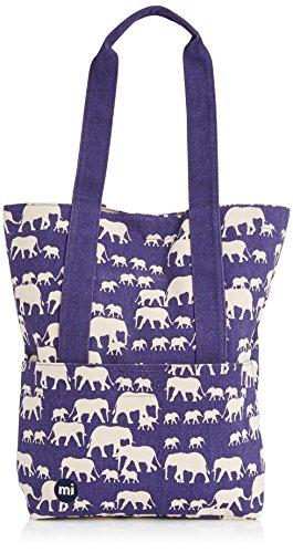 Mi-Pac Tarnrucksack, mit blauem Elefanten-Muster, mit Tragetasche, blau Pac-station