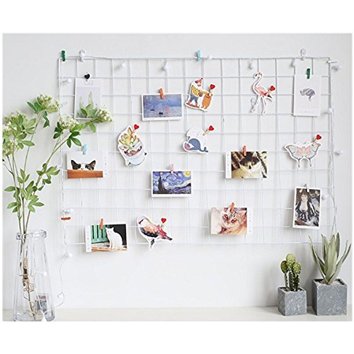 ShouYu DIY Grid Panel Foto Wand,Wandgitter,ins Mesh Wand,Multifunktion Gitterwand Deko,Memo Brett Organisator Regale (65*45cm,Weiß) -