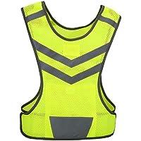 Gilet Réfléchissant Veste de Sécurité Haute Visibilité 200M Réglable Multi-poches pour Course à Pied Cyclisme Jogging de Nuit - Verte Fluorescent