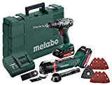 Metabo 685081000 Combo Set 18 V Bohrschrauber BS Akku-Multitool MT 18 LTX, grün; grau; schwarz; rot