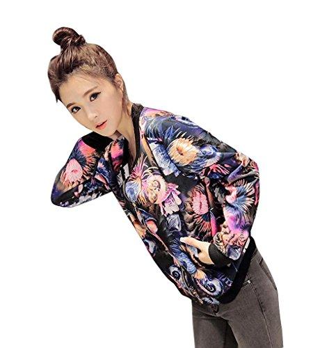 AMUSTER Donne lungo manica floreale stampato cerniera Blazer tuta giacca cappotto Outwear (M)