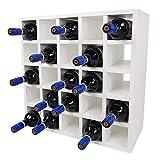 SunDeluxe Botellero Bacchus con Compartimentos Individuales - Estante para Botellas de Vino de 52 x 52 x 25 cm - Cajón botellero para 20 Botellas, Color:Blanco