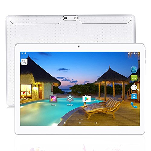 YUNTAB 10.1 pulgadas Tablet PC K107, Android 5.1,1280 * 800 Pantalla táctil IPS, 1GB + 16GB, MT6580 Quad Core, con 2 ranuras para tarjetas SIM, teléfono desbloqueado 3G, Bluetooth 4.0&Wi-Fi(blanco)