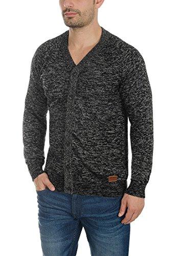 BLEND Daniel Herren Strickjacke Cardigan mit V-Ausschnitt aus hochwertiger Baumwollmischung Meliert Black