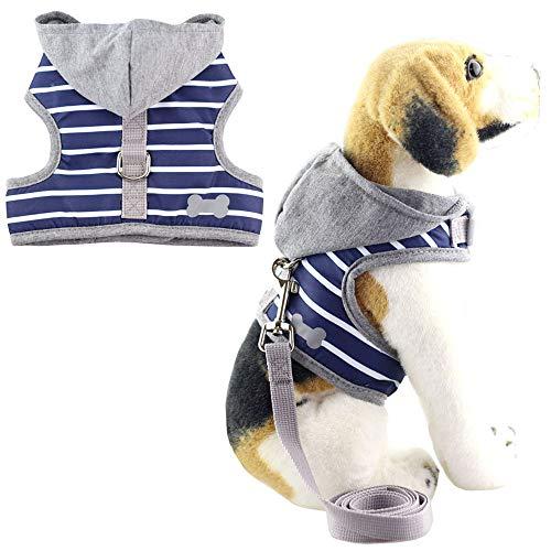 Bolbove Soft Pet Bone Stripe Weste Geschirr und Leine-Set mit grau Kapuze für Katzen Kleine Hunde, Medium, blau (Halloween-kostüme Bichons In)
