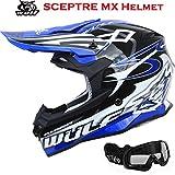 Nuovo Casco de Motocross -WULFSPORT SCEPTRE Adulti Casco Moto Scooter, off-road Enduro Cross Casco...