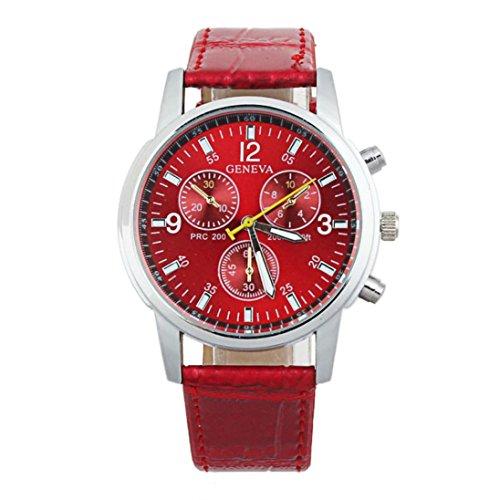 Internet Mode Frauen Genf Leder Band Analog Dial Quartz Armbanduhr (Frau - In Genf Für Uhr)