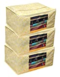 Kuber Industries 3 Pieces Non Woven Wardrobe Organizer Saree Cover Set, Gold