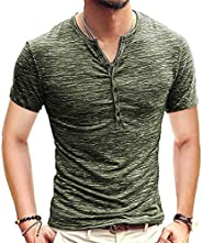 Mens Casual V-Neck Button Cuffs Cardigan Long Sleeve Henley T Shirts S-5XL