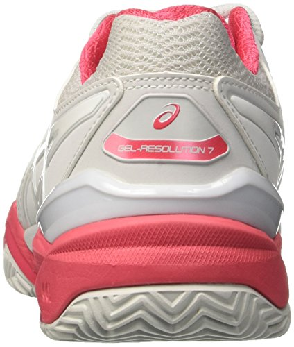 Asics Gel-Resolution 7 Clay, Scarpe da Tennis Donna Multicolore (Glacier Grey/White/Rouge Red)