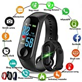 M3 Fitness Band Intelligence Bluetooth Health Wrist Smart Band Watch Monitor/Smart Bracelet/Health Bracelet/Activity Tracker/Smart Fitness Band Compatible for All Androids and iOS Phone/Tablet - Black