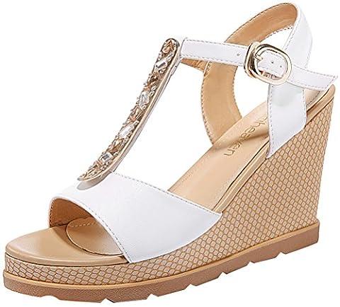 Bling-Bling Ladies Summer Rhinestone T-shaped Buckle Platform Wedge Heels Sandals(5 UK, White)