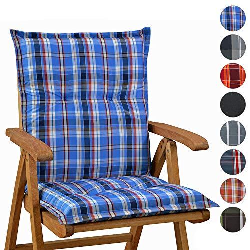 Homeoutfit24 Sun Garden Gartenstuhl-Auflage (103 x 52 x 8 cm) Prato, Niedriglehner Auflage in Blau/Weiß 2er Set
