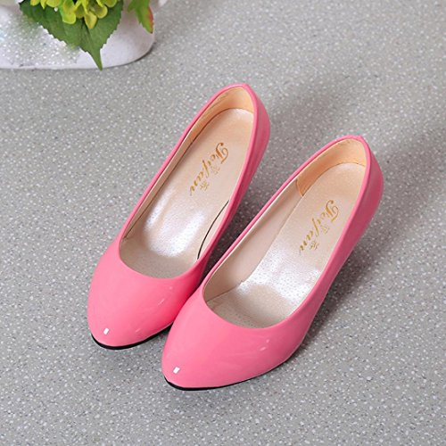 Transer® Damen Niedrige Absätze Mokassins Keilabsatz Schuh Kunstleder+Kunststoff (Bitte achten Sie auf die Größentabelle. Bitte eine Nummer größer bestellen. Vielen Dank!) Pink