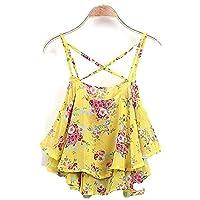 Summer Girls Women Floral Print Spaghetti Strap Double Chiffon Shirt