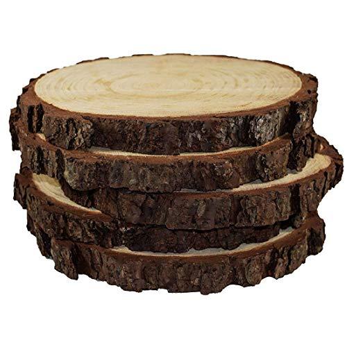 Nicolarisin Runde rustikale Holzscheiben ideal für Hochzeiten Mittelstücke Handwerk DIY Handwerk Ausstellungsstand Retro Atmosphäre für Wohnkultur, 5-Pack