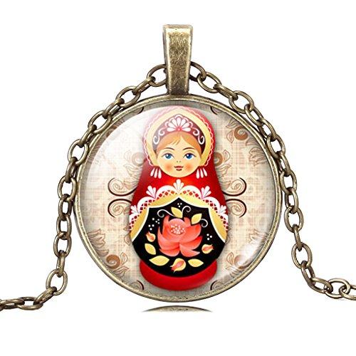 Stilvolle Russische Puppe Spielzeug Lotus Blume Kunst Anhänger Verstellbar Kupfer Kette Halskette