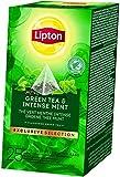 Lipton Grüner Tee und intensive Minze Pyramid Teebeutel (langblättriger Tee) 1er Pack (25 Teebeutel x 2g)
