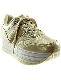 Angkorly - Scarpe Moda Sneaker Zeppa Sporty Chic Tennis Zeppe Donna Lucide  Coccodrillo Tacco Zeppa Piattaforma 4f79ab86e6a