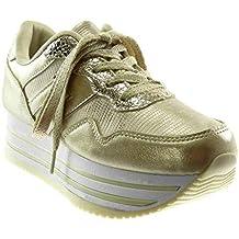 8a7c2c395e1b1 Angkorly - Scarpe Moda Sneaker Zeppa Sporty Chic Tennis Zeppe Donna Lucide  Coccodrillo Tacco Zeppa Piattaforma