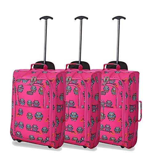 """Set of 3 21""""/55cm 5 Cities Kabine zugelassenes Handgepäck Leichte Trolley-Taschen Für Ryanair / Easyjet (Schwarz) Eulen Rosa"""