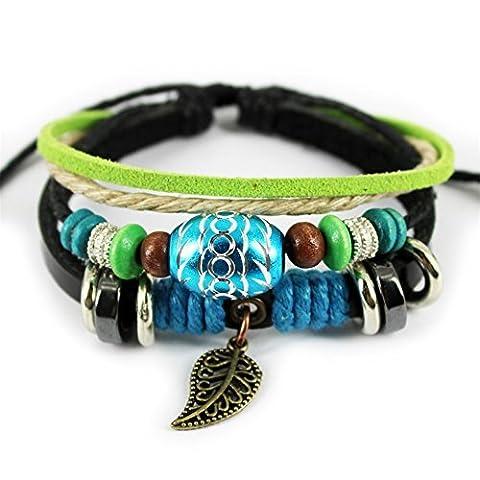Unique Pendentif feuille ovale Perles Multirang Cuir réglable Bracelet