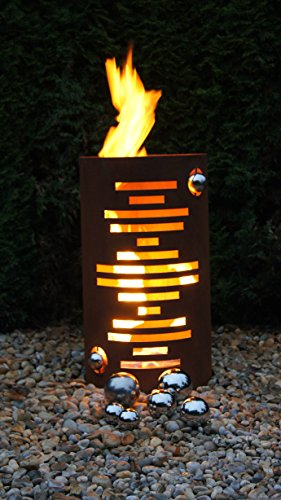 feuertonnen Feuertonne Modern Edelrost Säule Rost Feuerkorb Feuerschale