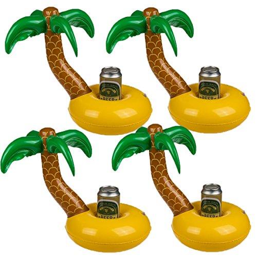 Bada Bing 4er Set Aufblasbarer Getränkehalter Palme mit Insel Dosenhalter Pool Garten Deko ()